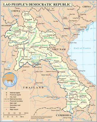 Outline of Laos - An enlargeable map of the Lao People's Democratic Republic