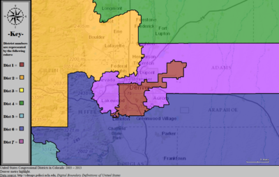 United States Congressional Districts in Colorado (metro highlight), 2003 – 2013.tif
