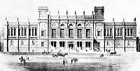 An illustration of 6 Burlington Gardens, home to the university administration from 1870 to 1899.