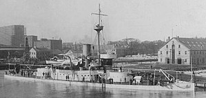 The USS Amphitrite moored at the Boston Navy Yard.