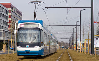 Glatt Valley - Zürich tram line 10 of the Stadtbahn Glattal near Opfikon