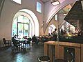VIII.Blick in die Marstall-Mensa, im ältesten mittelalterlichen Gebäude Heidelbergs, auf ihre Innenausstattung und Architektur 1397.JPG