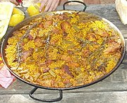 Saffron is one of the three essential ingredients in the Spanish paella valenciana, and is responsible for its characteristic brilliant yellow colouring.