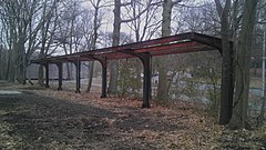 Remains of the New York and Putnam Railroad's Van Cortlandt Station inside the park