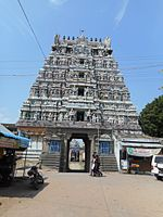 a Hindu temple tower with a street in the foreground