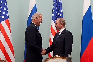 U.S. Vice President Joe Biden with Russian Prime Minister Vladimir Putin in Moscow, Russia on March 10, 2011 Vice President Joe Biden greets Russian Prime Minister Vladimir Putin.jpg