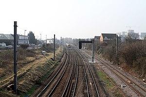 Old Oak Common Lane railway station - The proposed site of the station viewed from Old Oak Common Lane bridge