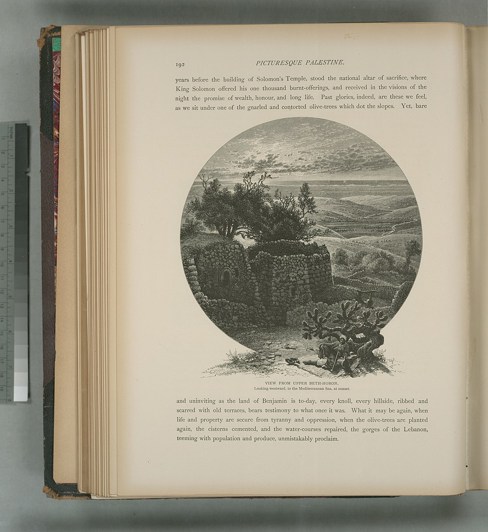 View from upper Beth-Horon, looking westward, to the Mediterranean Sea, at sunset (NYPL b10607452-80377)