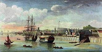 Woolwich Dockyard - Woolwich Dockyard in 1750, by John Boydell.