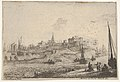 View of a peninsula with figures and ships with bare masts, in the right foreground five figures congregate around two barrels, town buildings beyond MET DP834144.jpg