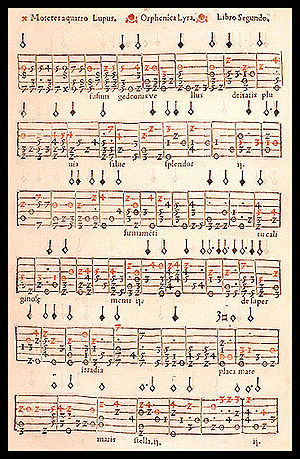 "Tablature - Example of numeric vihuela tablature from the book ""Orphenica Lyra"" by Miguel de Fuenllana (1554). Red numerals (original) mark the vocal part."
