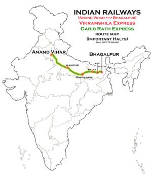 Vikramshila Express - Vikramshila Express (Anand Vihar - Bhagalpur) route map