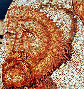 Odysseus - Part of a Roman mosaic depicting Odysseus at Skyros unveiling the disguised Achilles, from La Olmeda, Pedrosa de la Vega, Spain, 5th century AD
