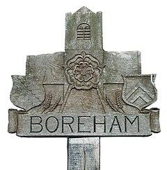 Village sign of Boreham, Essex, England