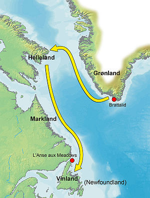 Thorvald Eiriksson - Probable route of travel from Greenland to Vinland
