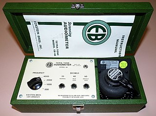 Audiometer machine used for evaluating hearing acuity