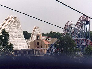 Rolling Thunder (roller coaster) - 2003 photo showing lift hill and portion of Rolling Thunder's tracks on left (Viper is on the right)