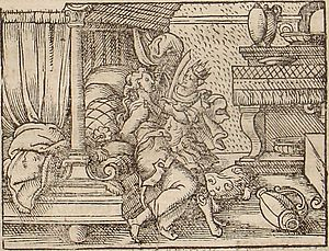Philomela - The Rape of Philomela by Tereus, engraved by Virgil Solis for a 1562 edition of Ovid's Metamorphoses (Book VI, 519–562).
