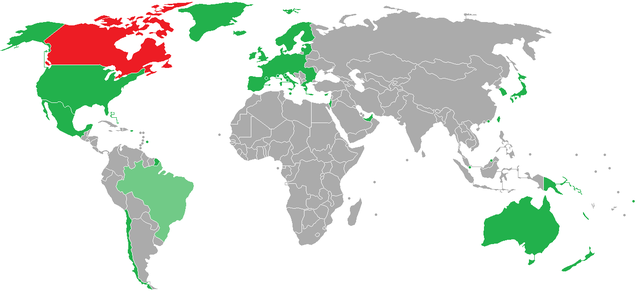 Visa Requirements to Canada by Country By Aquintero82 (Own work) [CC BY-SA 3.0 (https://creativecommons.org/licenses/by-sa/3.0)], via Wikimedia Commons