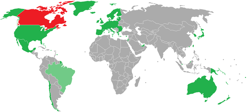 Visa Policy Of Canada Wikipedia - Us visa map