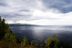Faial-Pico Channel - A view of Monte da Espalamaca, as seen from Pico, showing the Channel dividing the two islands