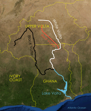 Map of the Volta River and its main three tributaries, the White Volta, Red Volta, and Black Volta rivers.