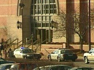 Westroads Mall shooting - Police cars cordoned in front of the Von Maur department store building.
