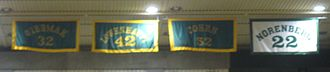 William & Mary Tribe men's basketball - Banners honoring Chet Giermak, John Lowenhaupt, Jeff Cohen and Lynn Norenberg