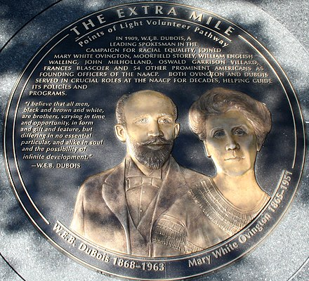 W. E. B. Du Bois, with Mary White Ovington, was honored with a medallion in The Extra Mile. W.E.B. DuBois Mary White Ovington.jpg