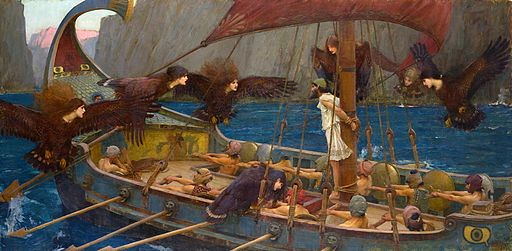 WATERHOUSE - Ulises y las Sirenas (National Gallery of Victoria, Melbourne, 1891. Oleo sobre lienzo, 100.6 x 202 cm)