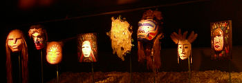These masks are part of an exhibit called &quo...