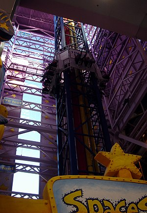Space Shot (ride) - The Space Shot at Galaxyland in Edmonton, AB, Canada. This is the tallest indoor tower ride in the world at 120 feet high.