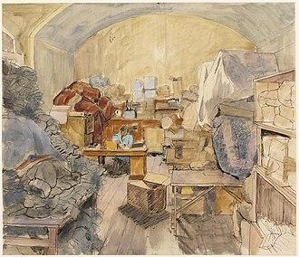 Rosemary Allan - WVS Clothing Store, Bristol (Art.IWM ART LD 5171) (1945)