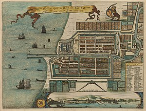Het Kasteel van Batavia - Map of Batavia in 1669 showing the location of the fish market (number 18) which is much closer than the one painted by Beeckman.