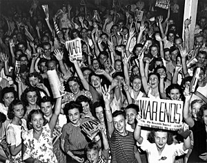 Victory Day (United States) - Citizens and workers of Oak Ridge, Tennessee celebrate V-J Day.