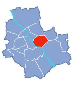 Location of Praga-Południe within Warsaw