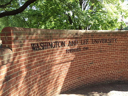 Brick sign at entrance, Washington and Lee Washington and Lee University brick sign Lexington Virginia.JPG