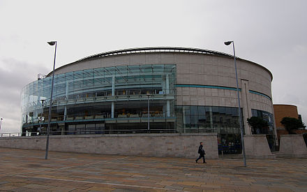The Waterfront Hall. Built in 1997, the hall is a concert, exhibition and conference venue. Waterfront Hall, Belfast.jpg
