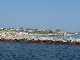 Weekapaug, Rhode Island - A photo of Weekapaug showing the breachway, jetty, channel, Fenway Beach, and numerous ocean front homes