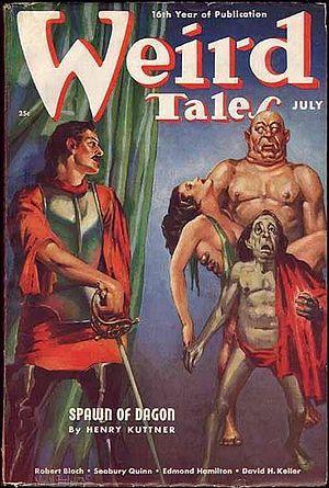 """Henry Kuttner - Kuttner's novelette """"Spawn of Dagon"""", part of his Elak of Atlantis series, was the cover story for the July 1938 Weird Tales"""