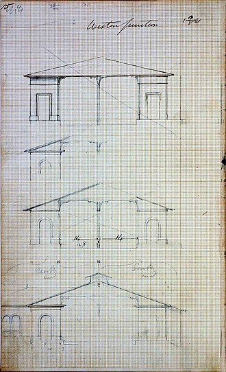 Disused railway stations on the Bristol to Exeter Line - Drawings for Weston Junction Station, by Isambard Kingdom Brunel