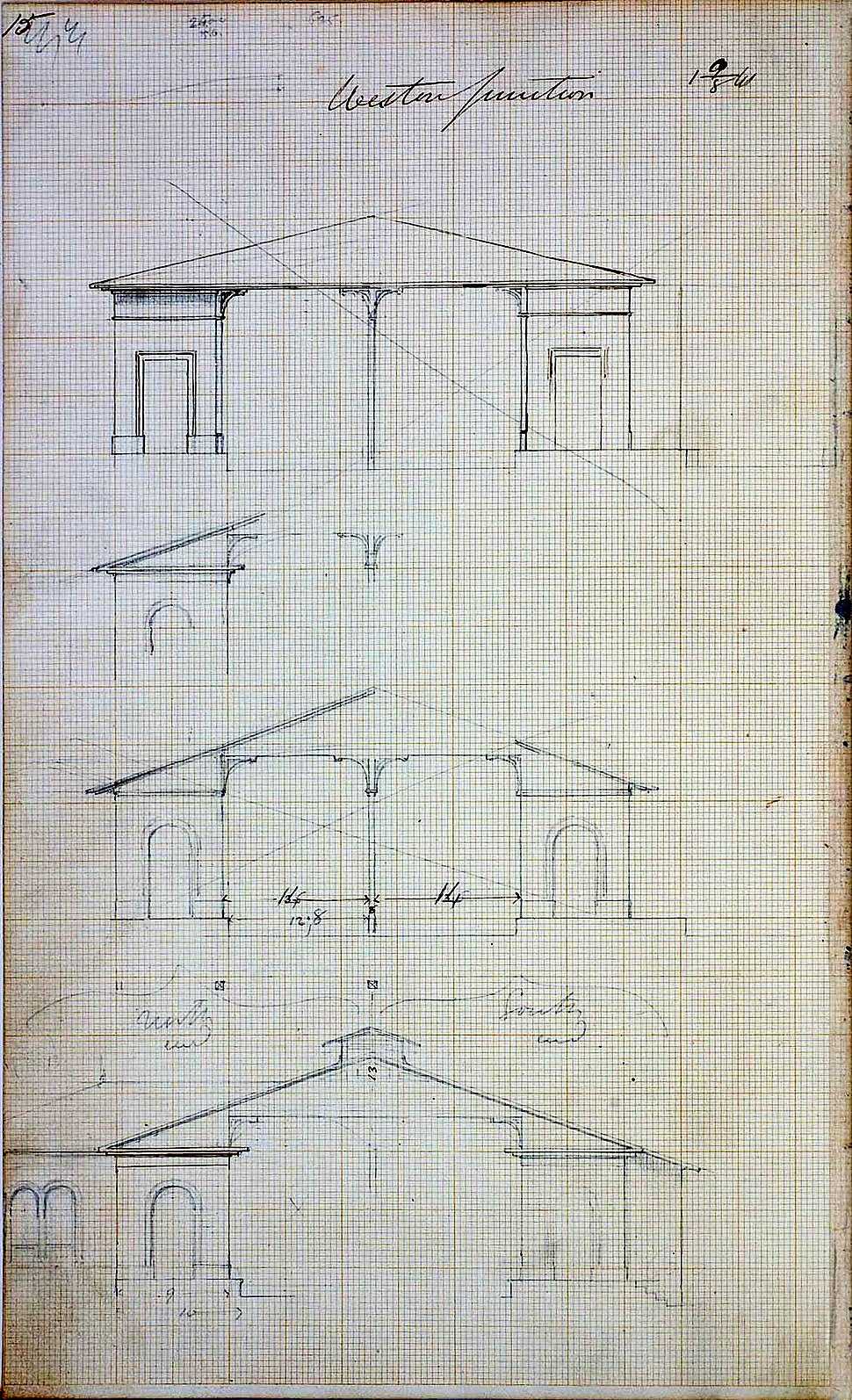 Weston Junction Station - drawing by Isambard Kingdom Brunel