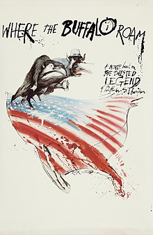 Poster with illustration of two half-human, half-beasts standing over the US flag in the shape of the contiguous United States