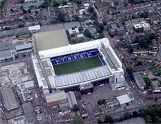 Aerial image of White Hart Lane. Redevelopment of this stadium began in early 1980s and completed in the late 1990s. White Hart Lane Aerial.jpg