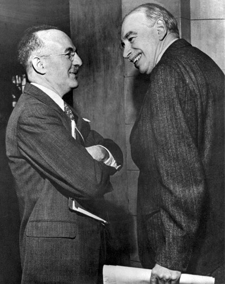 Keynes (right) and the US representative Harry Dexter White at the inaugural meeting of the International Monetary Fund's Board of Governors in Savannah, Georgia in 1946 WhiteandKeynes.jpg