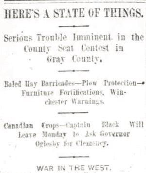 Gray County War - The headline of a Wichita Daily Eagle article warning of violence in Gray County following the county seat election in 1887.
