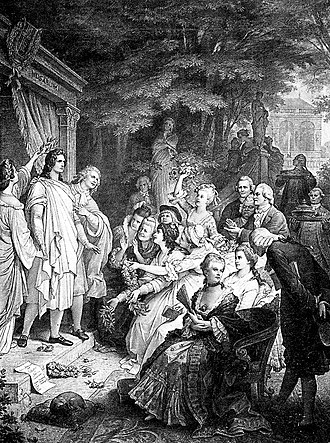 Iphigenia in Tauris (Goethe) - A performance of Iphigenia in Tauris featuring Goethe as Orestes, Karl August as Pylades, and Corona Schröter as Iphigenia