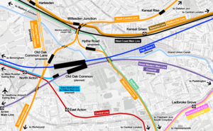 Old Oak Common Lane railway station - Map of the Old Oak Common proposals