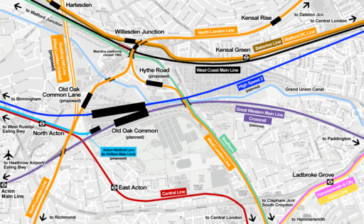 Willesden Junction map with Old Oak Common
