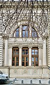 Window of a lateral facade of the Romanian Athenaeum, on Strada Benjamin Franklin (Bucharest, Romania).jpg